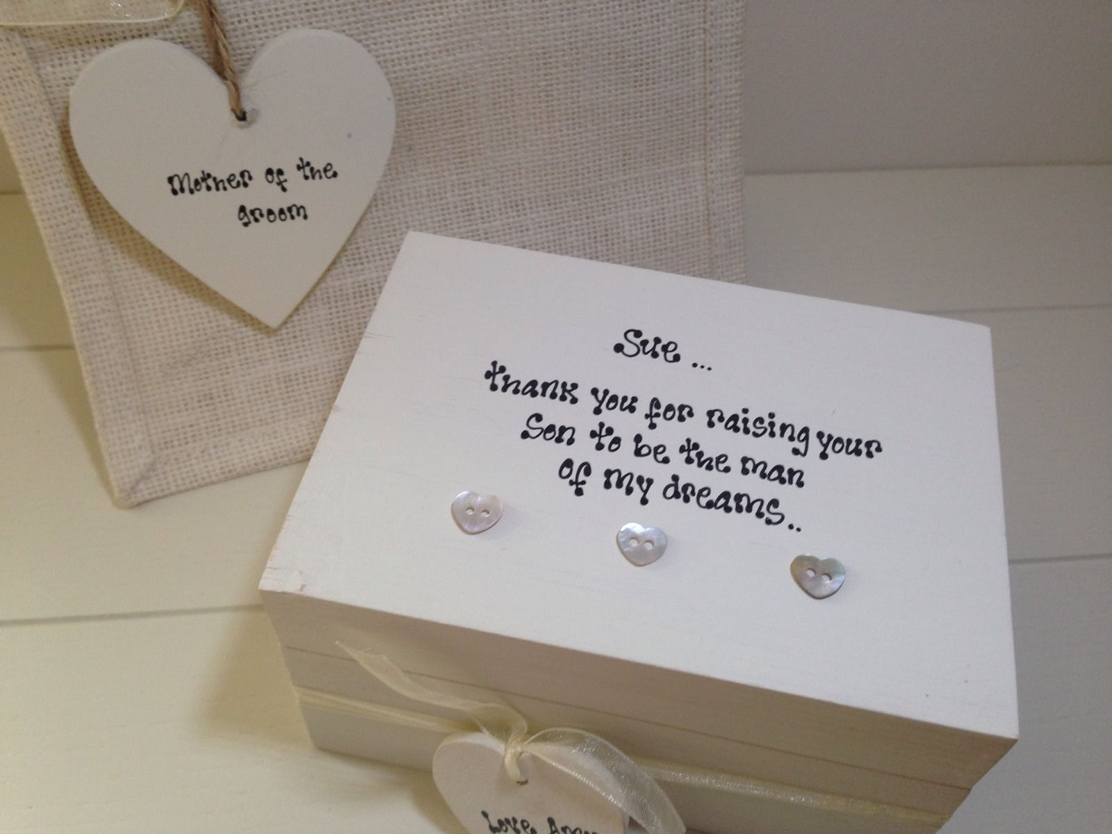Shabby Personalised Chic Mother Of The Groom Gift Set Wedding Thank